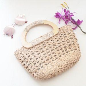 Vintage Straw Bamboo Round Handle Beach Bag
